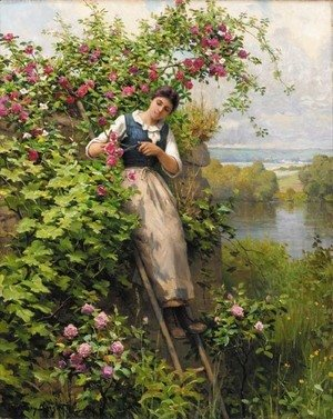 Daniel Ridgway Knight - Cutting the Roses