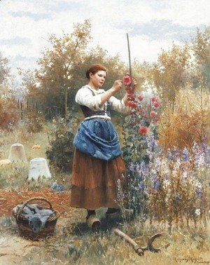 Daniel Ridgway Knight - Tying up the Hollyhocks