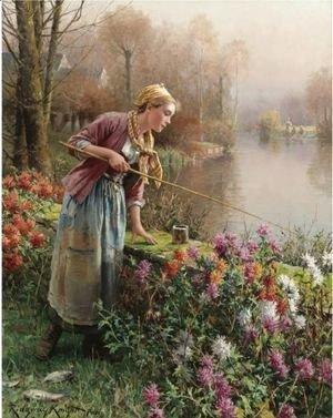 Daniel Ridgway Knight - Brittany Girl Fishing