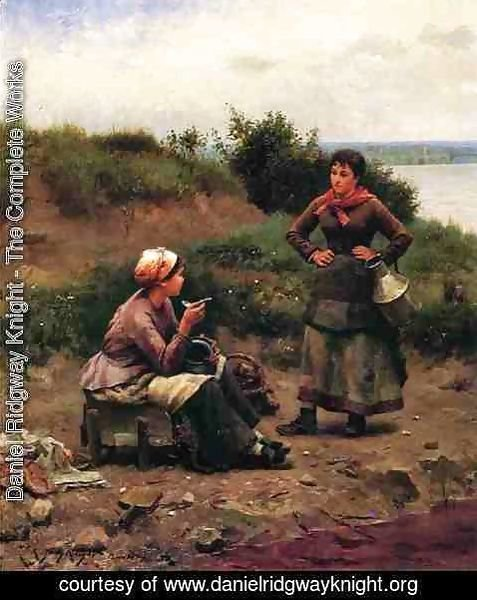 Daniel Ridgway Knight - A Discussion Between Two Young Ladies