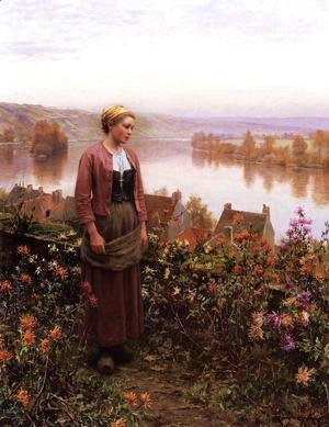 Daniel Ridgway Knight - A Garden Above The Seine  Rolleboise