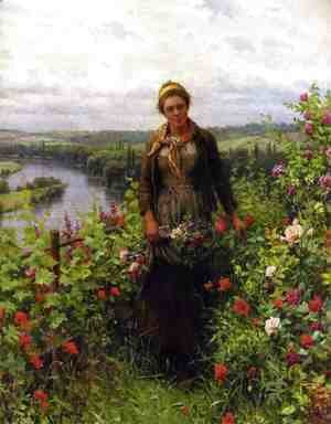 Daniel Ridgway Knight - A Maid In Her Garden