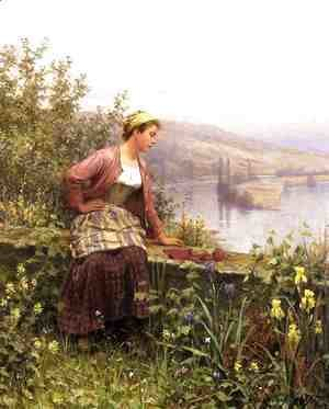 Daniel Ridgway Knight - Brittany Girl Overlooking Stream