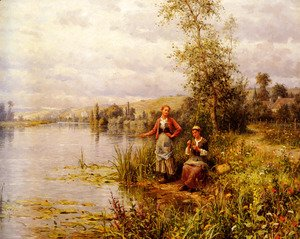 Daniel Ridgway Knight - Country Women Fishing On A Summer Afternoon