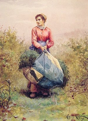 Daniel Ridgway Knight - Gathering Leaves