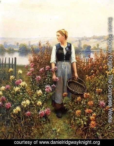 Daniel Ridgway Knight - Girl With A Basket In A Garden