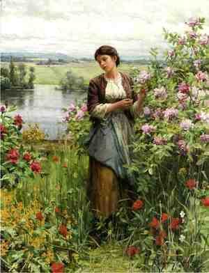 Daniel Ridgway Knight - Julia Among The Roses