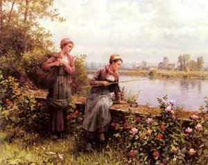 Daniel Ridgway Knight - Maria And Madeleine Fishing