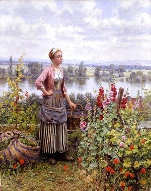 Daniel Ridgway Knight - Maria On The Terrace With A Bundle Of Grass