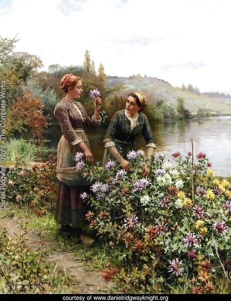 Peasant Girls In Flower Garden