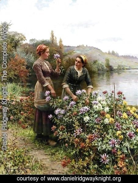 Daniel Ridgway Knight - Peasant Girls In Flower Garden