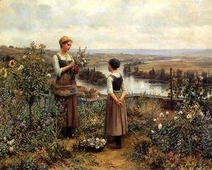 Daniel Ridgway Knight - Picking Flowers