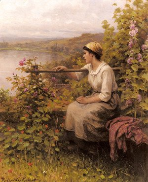 Daniel Ridgway Knight - Resting In The Garden