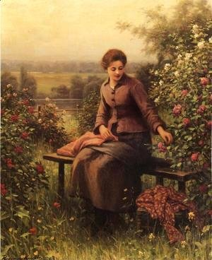 Daniel Ridgway Knight - Seated Girl With Flowers