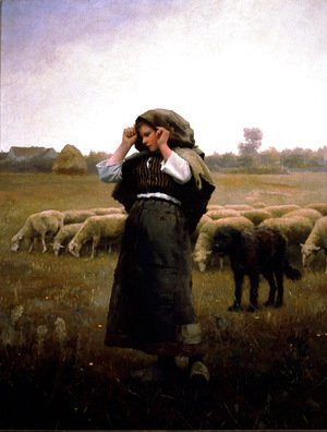 Daniel Ridgway Knight - Shepherdess And Her Flock