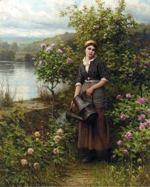 Daniel Ridgway Knight - Watering The Garden