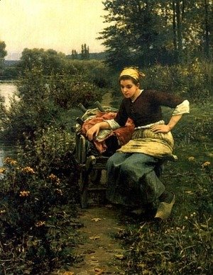 Daniel Ridgway Knight - Woman In Landscape