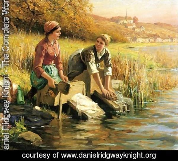 Daniel Ridgway Knight - Women Washing Clothes By A Stream