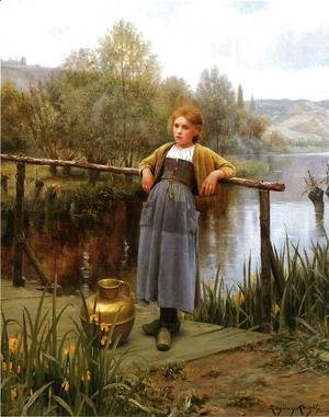 Daniel Ridgway Knight - Young Girl By A Stream