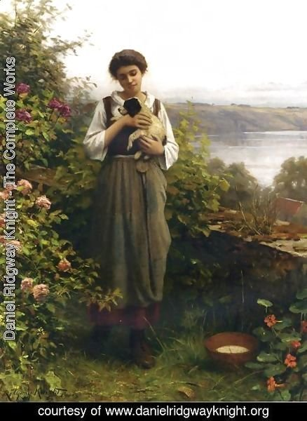 Daniel Ridgway Knight - Young Girl Holding A Puppy