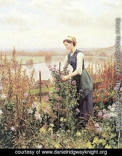 Daniel Ridgway Knight - Arranging Flowers